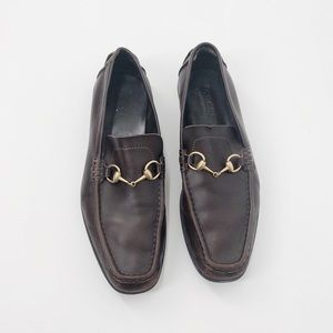 Gucci Brown Leather Horsebit Loafers Size 11
